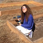 Mackenzie helps construct one of the watermelon beds.